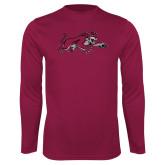 Performance Maroon Longsleeve Shirt-Wildcat Full Body