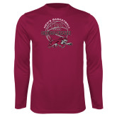 Performance Maroon Longsleeve Shirt-100 Years of Chico State Basketball