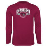 Performance Maroon Longsleeve Shirt-Back-to-Back CCAA Champions Mens Basketball