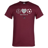 Maroon T Shirt-Soccer Just Kick It