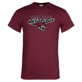 Maroon T Shirt-Chico State Wildcats w/Wildcat Head Stacked