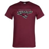Maroon T Shirt-Chico State Wildcats w/Wildcat Head Stacked