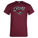 Maroon T Shirt-Cats w/Wildcat Head