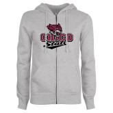 ENZA Ladies Grey Fleece Full Zip Hoodie-Wildcat Head Chico State