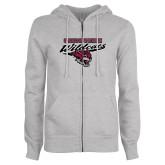 ENZA Ladies Grey Fleece Full Zip Hoodie-Chico State Wildcats w/Wildcat Head Stacked