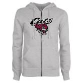 ENZA Ladies Grey Fleece Full Zip Hoodie-Cats w/Wildcat Head