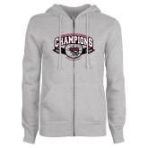 ENZA Ladies Grey Fleece Full Zip Hoodie-Back-to-Back CCAA Champions Mens Basketball