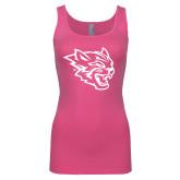 Next Level Ladies Junior Fit Fuchsia Jersey Tank-Wildcat Head