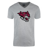 Next Level V Neck Heather Grey T Shirt-Wildcat Head
