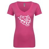 Next Level Ladies Junior Fit Ideal V Pink Tee-Wildcat Head