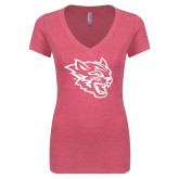 Next Level Ladies Vintage Pink Tri Blend V Neck Tee-Wildcat Head