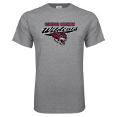 Grey T Shirt-Chico State Wildcats w/Wildcat Head Stacked