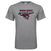 Grey T Shirt-Chico State Wildcats w/Wildcat Head Stacked