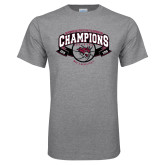 Grey T Shirt-Back-to-Back CCAA Champions Mens Basketball