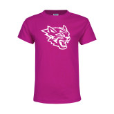 Youth Cyber Pink T Shirt-Wildcat Head