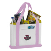Contender White/Pink Canvas Tote-Wildcat Head Chico State