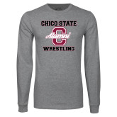 Grey Long Sleeve T Shirt-Vintage Alumni Wrestling