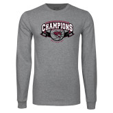Grey Long Sleeve T Shirt-Back-to-Back CCAA Champions Mens Basketball