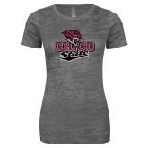 Next Level Ladies Junior Fit Dark Grey Burnout Tee-Wildcat Head Chico State