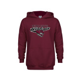Youth Maroon Fleece Hoodie-Chico State Wildcats w/Wildcat Head Stacked