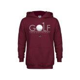 Youth Maroon Fleece Hoodie-Golf With Ball