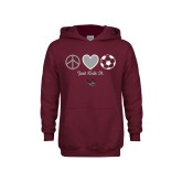 Youth Maroon Fleece Hoodie-Soccer Just Kick It
