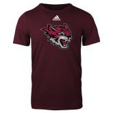 Adidas Maroon Logo T Shirt-Wildcat Head