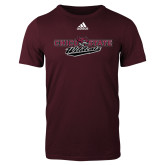 Adidas Maroon Logo T Shirt-Chico State Wildcats Flat Version