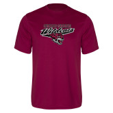 Performance Maroon Tee-Chico State Wildcats w/Wildcat Head Stacked