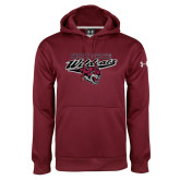 Under Armour Maroon Performance Sweats Team Hood-Chico State Wildcats w/Wildcat Head Stacked