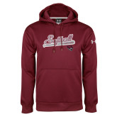 Under Armour Maroon Performance Sweats Team Hoodie-Softball Script