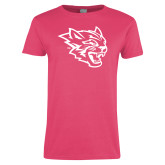 Ladies Fuchsia T Shirt-Wildcat Head