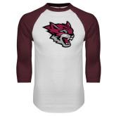 White/Maroon Raglan Baseball T Shirt-Wildcat Head