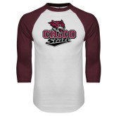 White/Maroon Raglan Baseball T Shirt-Wildcat Head Chico State