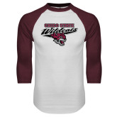 White/Maroon Raglan Baseball T Shirt-Chico State Wildcats w/Wildcat Head Stacked