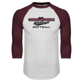White/Maroon Raglan Baseball T Shirt-Softball