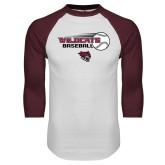 White/Maroon Raglan Baseball T Shirt-Baseball Ball