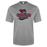 Performance Grey Heather Contender Tee-Wildcat Head Chico State