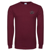 Maroon Long Sleeve T Shirt-Wildcat Head Chico State