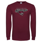 Maroon Long Sleeve T Shirt-Chico State Wildcats w/Wildcat Head Stacked