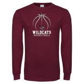 Maroon Long Sleeve T Shirt-Basketball Full Ball