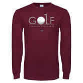 Maroon Long Sleeve T Shirt-Golf With Ball