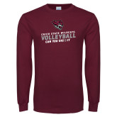 Maroon Long Sleeve T Shirt-Volleyball Can You Dig It