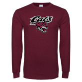Maroon Long Sleeve T Shirt-Cats w/Wildcat Head