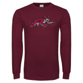 Maroon Long Sleeve T Shirt-Wildcat Full Body
