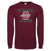 Maroon Long Sleeve T Shirt-Vintage Alumni Football
