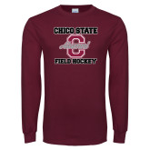 Maroon Long Sleeve T Shirt-Vintage Alumni Field Hockey