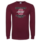 Maroon Long Sleeve T Shirt-Vintage Alumni Swimming & Diving