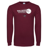 Maroon Long Sleeve T Shirt-Baseball Ball