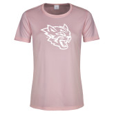 Ladies Performance Light Pink Tee-Wildcat Head